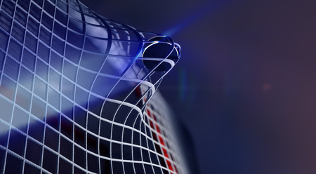 3d rendered illustration of puck in net of ice hockey goal. The puck with shining lines. Goals with depth of field dof effects. Place for copyspace text. Stockfoto
