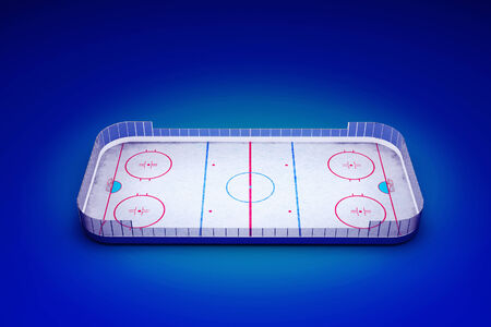3d rendered illustration of an ice hockey area on blue background