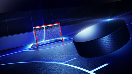 hockey sobre hielo: 3d rindi� la ilustraci�n de la pista de hielo del hockey y la meta. El disco est� volando a puerta. Luminoso l�neas en el hielo.