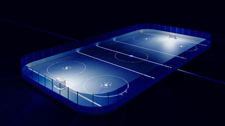 hockey sobre hielo: 3d rindi� la ilustraci�n de la pista de hielo del hockey y la meta. Luminoso l�neas en el hielo.