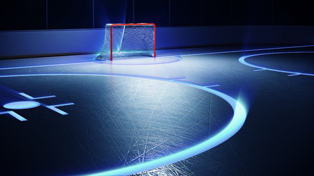 goal: 3d rendered illustration of hockey ice rink and goal. Scratches on ice. Shining lines on ice.