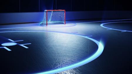 wintrily: Illustrazione di rendering 3D di pista di hockey su ghiaccio e obiettivo. Graffi su ghiaccio. Splendente righe su ghiaccio.