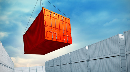 3d rendered illustration of an industrial port with containers. Loading container 스톡 콘텐츠