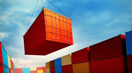3d rendered illustration of an industrial port with containers. Loading container Stock Photo