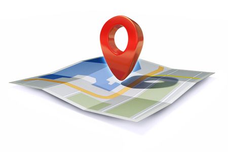 3d rendered illustration of location icon or pin pointer on map isolated on white