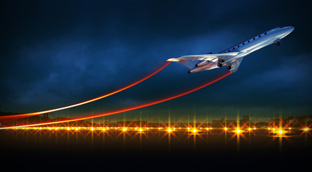 off: 3d illustration of an aircraft at take off on night airport. Bright lights at runway.