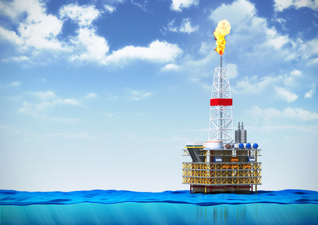 3d illustration of sea oil rig drilling platform on cross section of water surface on backround of cloudy sky Stock Photo