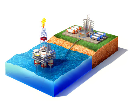 3d illustration of cross section of sea with oil and gas platform in the gulf or the sea, transporting gas or oil on land station. Isolated on white Standard-Bild