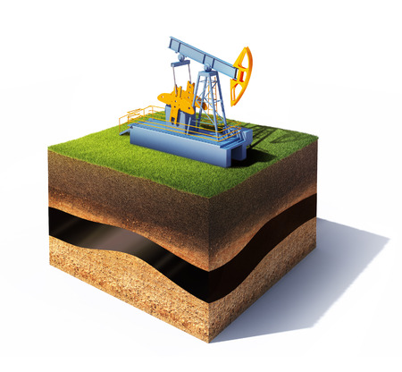 well: 3d model of cross section of ground with grass and oil pump jack isolated on white