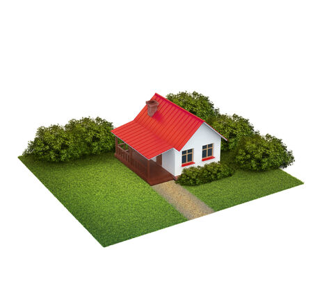 A piece of land with lawn with house and bushes isolated on white