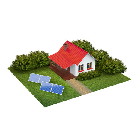 recluse: A piece of land with lawn with house, bushes and swimming pool isolated on white