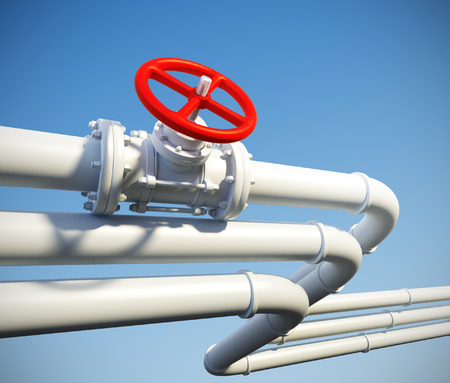 gas supply: 3d rendered illustration of industrial pipeline with gas or oil on a background of blue sky