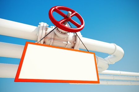 3d rendered illustration of industrial pipeline with gas or oil with empty sign on a background of blue sky Stock Photo