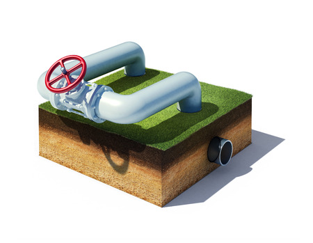 3d rendered illustration valve of industrial pipeline with gas or oil on cross section of ground with grass isolated on white Standard-Bild
