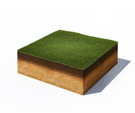 3d illustration of isometric cross section of ground with grass isolated on white 스톡 콘텐츠
