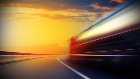 3d illustration of a blurry oil tanker truck on asphalt road under evening sky and sunset light