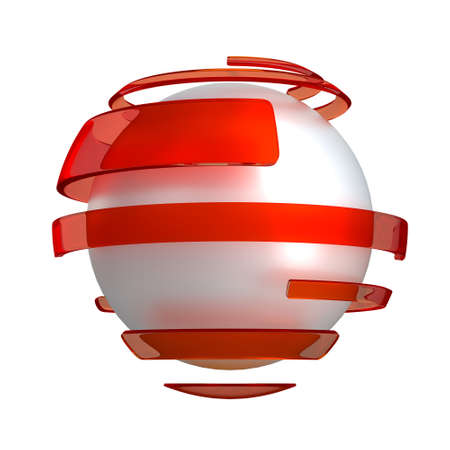 Sphere with red stripes on the isolated background