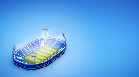 3d illustration of stadium with soccer field with the lights on blue background