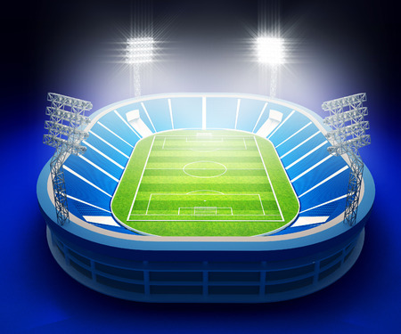 3d illustration of stadium with soccer field with the lights on dark blue background Stock Photo