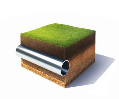 3D-model van de dwarsdoorsnede van de grond met gras en stalen pijp op wit wordt geïsoleerd