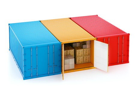 3d illustration of three nautical containers. One of them is open and with crates. Isolated on white