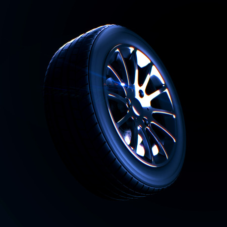 3d macro illustration of a car tire with depth of field blur on black background. Selective focus. DOF blur effect