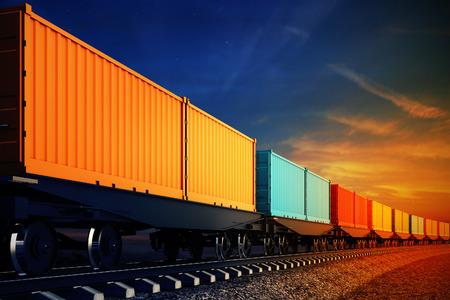 on train: 3d ilustraci�n de vag�n de tren de carga con contenedores en el fondo del cielo