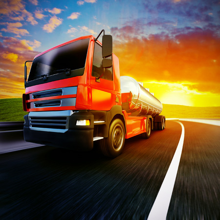 3d illustration of a red semi truck on blurry asphalt road under evening sky and sunset light