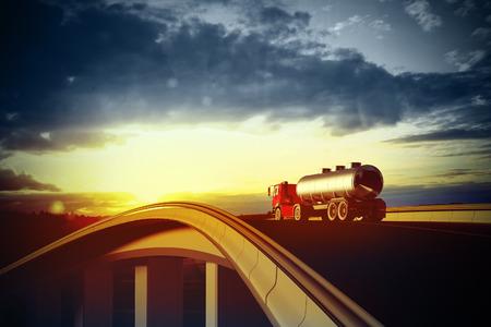 3d illustration of a red truck on blurry asphalt road under blue sky and sunset light Standard-Bild