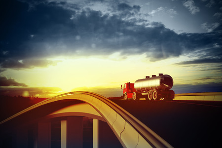 3d illustration of a red truck on blurry asphalt road under blue sky and sunset light Zdjęcie Seryjne