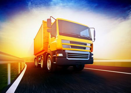 transporter: 3d rendered illustration of a orange semi-truck on blurry asphalt road under blue sky and sunset light Stock Photo