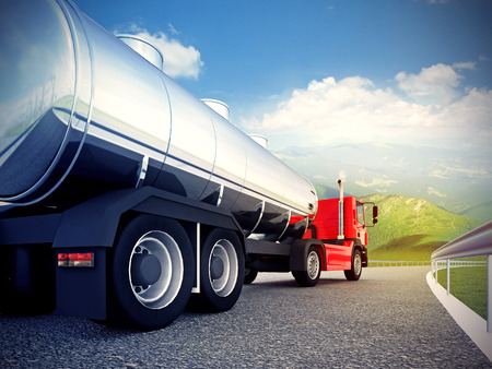 3d illustration of a red truck on asphalt road under blue sky Stock Photo