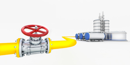 Yellow tube with red valves and oil factory