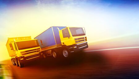 3d rendered illustration of two orange semi-trucks with cargo containers on blurry asphalt road under blue sky and sunset light