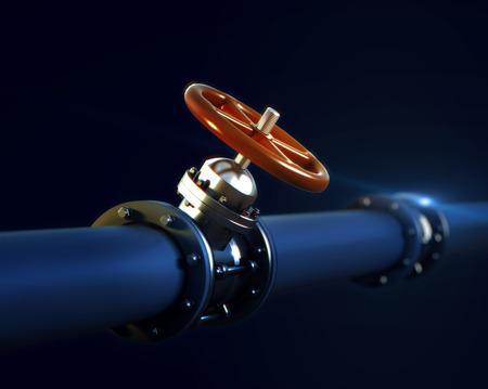 3d rendered illustration of metal pipeline with valve and red handwheel wirh DOF focus blur effect on dark background Stock Photo