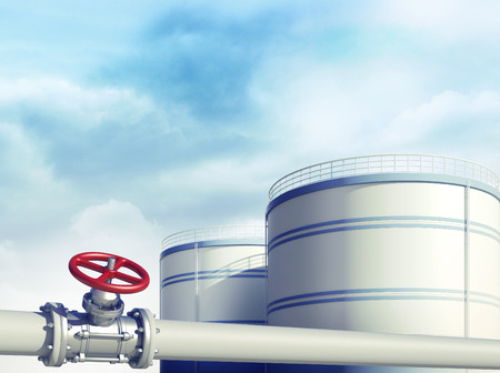 3d rendered illustration of pipeline with red valve. Fuel or oil industrial storages on background Standard-Bild