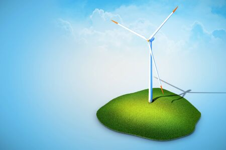 3 rendered illustration of wind turbines generating electricity on blue background