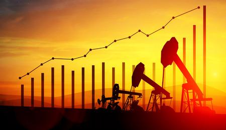 3d illustratie van de hefbomen van de oliepomp en financiële analyticsgrafieken en bars op de achtergrond van de zonsonderganghemel. Concept groeiende olieprijzen