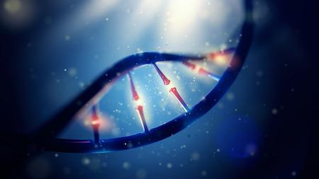 genomes: 3d illustration of DNA molecule. Closeup of concept human genome.