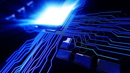 3d rindió la ilustración de vista macro unidad de procesador central en la placa base con líneas de brillo Foto de archivo