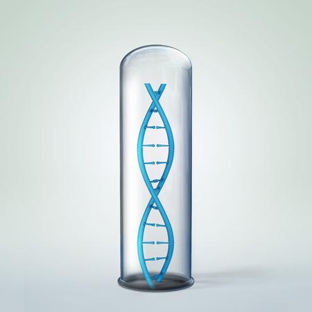 3d illustration of DNA helix in test tube
