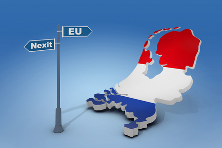 skepticism: 3d illustration of sign and map of Netherlands illustrate potential separation of Netherlands (Holland) from European Union Stock Photo