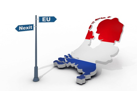skeptical: 3d illustration of sign and map of Netherlands illustrate potential separation of Netherlands (Holland) from European Union Stock Photo