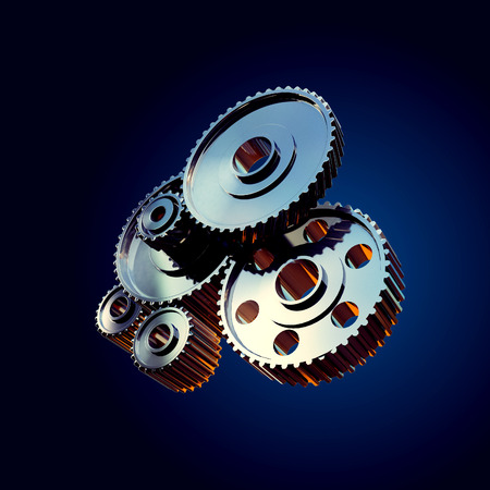 3d rendered illustration of closeup gear wheels