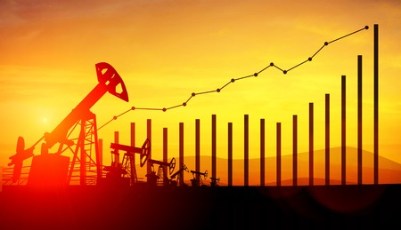 3d illustration of oil pump jacks and financial analytics charts and bars on sunset sky background. Concept of growing oil prices