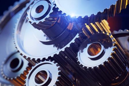 3d rendered illustration of closeup gear wheels