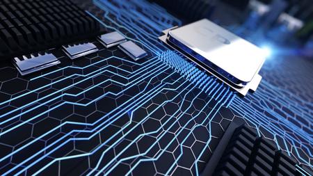 マクロ ビュー セントラル プロセッサ ユニット輝きラインとマザーボード上の 3 d レンダリングされたイラストレーション