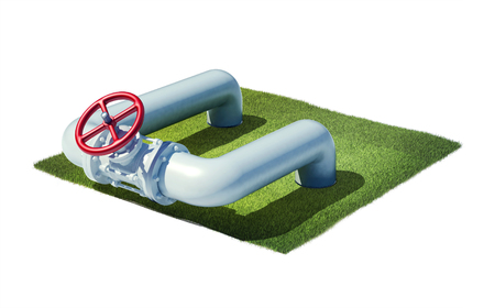 oil pipe: 3d rendered illustration valve of industrial pipeline with gas or oil on cross section of ground with grass isolated on white Stock Photo