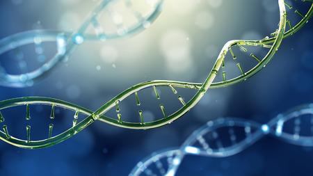 3d illustration of glass model of DNA molecule. Closeup of concept human genome.