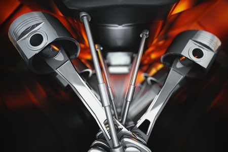 3d illustration of car engine. Crankshafts and pistons of automobile motor internal view